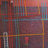 James Juthstrom (1925-2007) Fire Escapes on Broome Street II, circa 1970s oil on canvas 72 x 50 inches