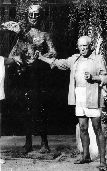 Lucien Clergue [1934-2014]  Picasso and the Man with a Lamb, Mougins  photo 1965 [printed later]  gelatin silver print, edition of 30 MF, signed  Paper Size: 20 x 16 inches   50.8 x 40.6 cm Image Size: 17.75 x 14.5 inches   45.1 x 36.8 cm