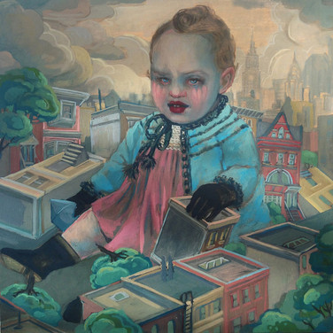Lori Nelson  Hello, Brooklyn, 2013 oil on wood, 18 x 18 inches