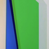CHARLES HINMAN (b. 1932)  Green Blue Wing, c. 2010  acrylic on shaped canvas  44 x 11 x 5 inches
