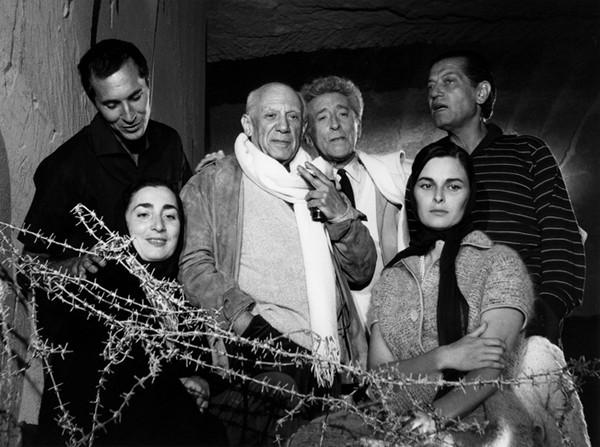 Lucien Clergue [1934-2014] Luis Miguel Dominguin, Pablo Picasso, Jean Cocteau, Serge Lifar, Jacqueline Picasso, Lucia Bose, les Baux-de-Provence photo 1959 [printed 1985] gelatin silver print, edition of 30 PF, signed Paper Size: 18.75 x 14.75 inches   47.6 x 37.5 cm Image Size: 17.75 x 12.75 inches   45.1 x 32.4 cm