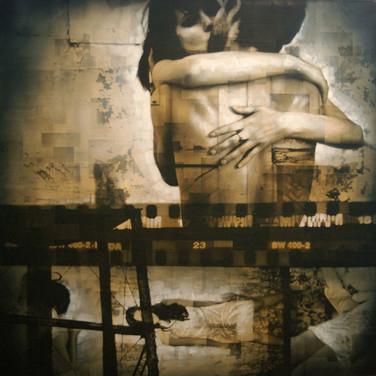 Bryan el Castillo  The Kiss  oil, mixed media on canvas, 48 x 48 inches