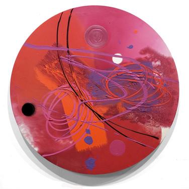 James Hendricks  Red Resonance  acrylic, acrylic gels on shaped canvas,  47 inches diameter