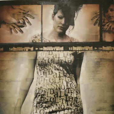 Bryan el Castillo  Alphabet Dress  oil, mixed media on canvas,  48 x 36 inches