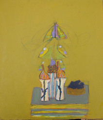 Acrylic on board painting of still life, green book, household objects, on ochre background