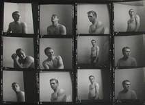 Contact Sheet of twelve photographs of Steve McQueen posing shirtless in Roy Schatt's studio in New York City, 1956