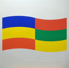 Charles Hinman Blue, Green and Yellow Flag, 1970  silkscreen on embossed paper, edition of 90, signed 26 x 26 inches