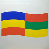 Charles Hinman Blue, Green and Yellow Flag, 1970 silkscreen on embossed paper, edition of 90 26 x 26 inches