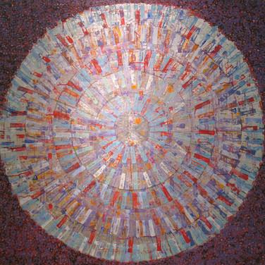 James Juthstrom [1925-2007]  Untitled [Aztec Calendar], circa 1960s  acrylic on canvas,  44.5 x 47 inches