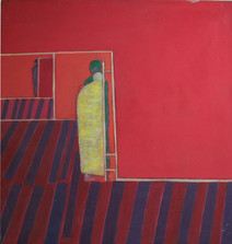 Acrylic on canvas painting of red screens and silhouetted characters hiding behind them