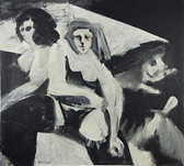 Oil painting of three women, black and white
