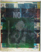 """Large blue pinup collaged with newspaper cuttings on blue background and the word """"NO"""" painted on top multiple times"""
