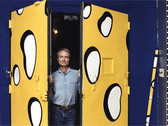 BOB ADELMAN (1930-2016)  Lichtenstein with cheese gate in his 23rd street studio, NYC  photograph 1980s (printed later)  archival pigment print, AP, signed  paper size > 22 x 14.5 inches