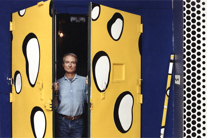 BOB ADELMAN (1930-2016) Roy Lichtenstein with Untitled (Swiss Cheese Elevator Doors) (1986) at his 23rd street studio, NYC  photograph 1980s [printed later]  archival pigment print, AP, signed  Paper Size: 22 x 14.5 inches | 55.9 x 36.8 cm