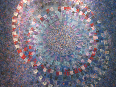 JAMES JUTHSTROM (1925-2007)  Untitled [Spinning Worlds]  circa 1970s  acrylic, silver leaf on canvas  50 x 55 inches