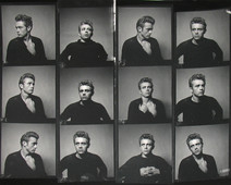 Contact sheet of twelve portraits of James Dean in a photoshoot wearing a torn sweater