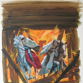 """The Lone Ranger  """"Pay or Burn""""  George Wilson  Issue # 27/ December 1976  Watercolor, gouache on bookboard, 18 x 14 inches"""