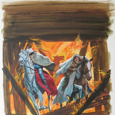 "The Lone Ranger  ""Pay or Burn""  George Wilson  Issue # 27/ December 1976  Watercolor, gouache on bookboard, 18 x 14 inches"