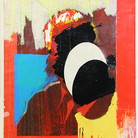Boris Lurie (1924-2008) Altered Photo (Cabot Lodge), 1963 paint on paper collage mounted on canvas 29.25 x 23.75 inches