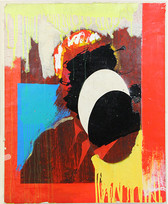 Semi-abstract painting of a bust figure, red, blue, yellow background