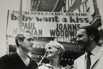Paul Newman, Joanne Woodward and James Costigan in front of the Actors Studio Theatre, 1954