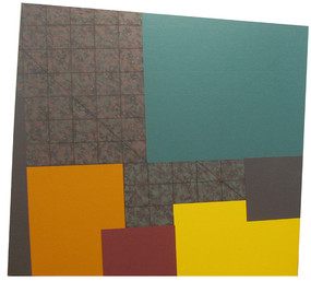 Painting of irregular shape, composed of unequal color blocks and grids, emerald green, chrome yellow, grays, orange