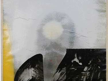 Boris Lurie (1924-2008)  Altered Photos (Cabot Lodge), 1963  paint on paper mounted on canvas  38.5 x 32 inches