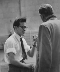 Director Sidney Lumet directing Lorne Green in New York City, 1953