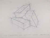 Pencil drawing of a tridimensional object made of three interconnected rectangular prisms, with notations