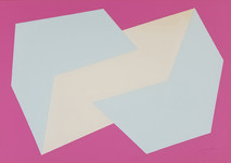 Print of two interconnected rectangular prisms, blue and white, on pink background