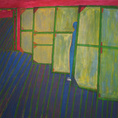 James Juthstrom [1925-2007] Untitled [Green Screens], circa 1980s acrylic on canvas 63 x 66 inches