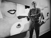 Bob Adelman (1930-2016) Tom Wesselman at Sidney Janis Gallery, during his 1966 exhibition. In the background, artwork from the 'Great American Nude' series photograph 1966 (printed later) archival pigment print, AP, signed paper size > 12 x 17 inches