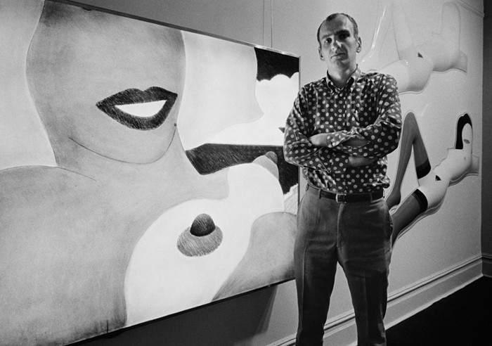 BOB ADELMAN (1930-2016) Tom Wesselman at Sidney Janis Gallery, during his 1966 exhibition. In the background, artwork from the 'Great American Nude' series photograph 1966 [printed later] archival pigment print, AP, signed Paper Size: 12 x 17 inches | 30.5 x 43.2 cm