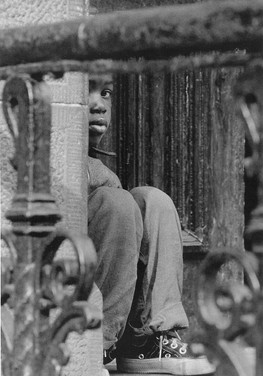 BOB ADELMAN (1931-2016) Boy in a box, Brooklyn, New York City photo 1964 [printed later]  gelatin silver print, edition of 15, signed, numbered  paper size > 16 x 20 inches