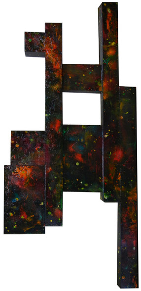 Irregular shaped painting on wood with cosmic swirls in red and green on black
