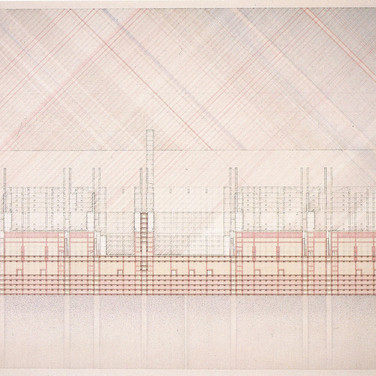 Will Insley [1929-2011]  Building Room Section Red Green Elevation, 1978/81  ink on ragboard, 40 x 60 inches