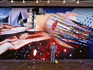 "BOB ADELMAN (1930-2016)  James Rosenquist in his studio in front of the mural, ""Star Thief""  photograph 1981 (printed later)  archival pigment print, AP, signed  paper size > 30 x 15.75 inches"