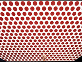 BOB ADELMAN (1930-2016)  Roy Lichtenstein filling spots in the red Benday dots with a tiny spotting brush  photograph 1986 (printed later)  archival pigment print, edition 1/20, signed  paper size > 30 x 20.5 inches