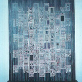 JonMarc Edwards  New York School, 1994  acrylic on canvas, wood stand,  100 x 79 inches