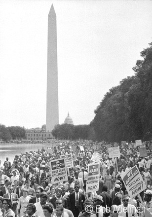 BOB ADELMAN (1930-2016) Marchers en route to the Lincoln Memorial, Washington, D.C. photo 1963 [printed later]  gelatin silver print, edition of 15, signed, numbered  Paper Size: 20 x 16 inches | 50.8 x 40.6 cm