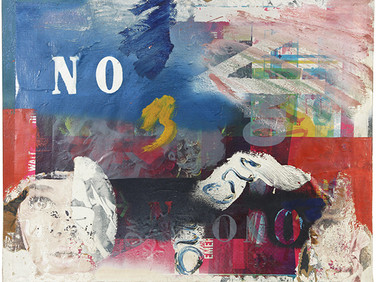 Boris Lurie (1924-2008) NO poster Overpainted, 1963  Paint transfer and offset print on wastepaper mounted on canvas  24 x 30 inches