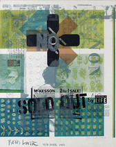 Collage including the words NO, NON, SOLD OUT, McKesson, 2-for-1-sale, and a LIFE magazine snippet, New York, 1963