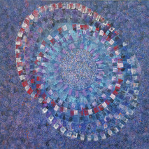 Blue acrylic on canvas abstract painting, concentric & superimposed circles, red, white, blue, created from brush patterns