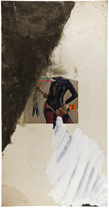 Boris Lurie (1924-2008)  Untitled (Deliberate pinup series), c.1975  paper collage, sand, and acrylic paint on board  32 x 17 in