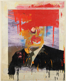 Boris Lurie (1924-2008) Altered Photo (Cabot Lodge), 1963  paint and paper mounted on canvas  29.5 x 24 inches