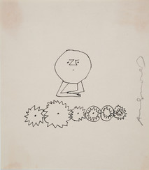 Untitled (Thinking 5), circa 1950s ink on paper [blotted ink technique], signed 9.25 x 8 inches