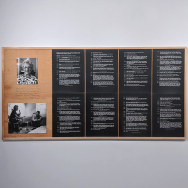 ROGER WELCH Ruth Elliott Memory Map, 1973 ink and wood blocks mounted on wood with photographs and photostat text 48 x 168 inches, diptych  Detail of first panel
