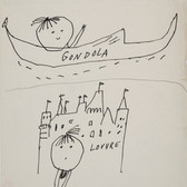 Untitled (Gondola), circa 1950s ink on paper, signed 11 x 8.5 inches