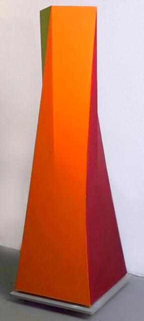 CHARLES HINMAN (b. 1932)  Color Twist, 2007-08  acrylic on shaped canvas  78 x 36 x 36 inches