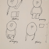 Untitled (Slashing Pressing), circa 1950s ink on paper, signed 11 x 8.5 inches